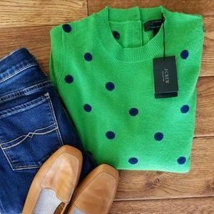 NWT J. Crew Collection Cashmere Polka Dot Sweater